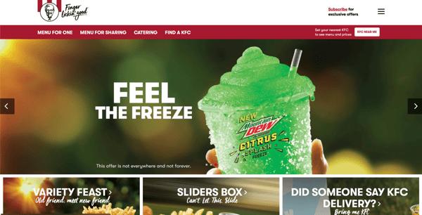 KFC Australia website