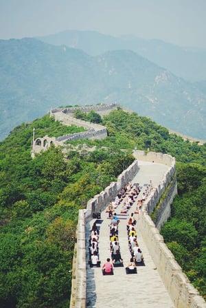 Lululemon yoga on Great Wall